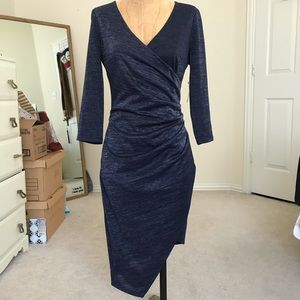 Shimmery blue Asymmetrical ruched dress